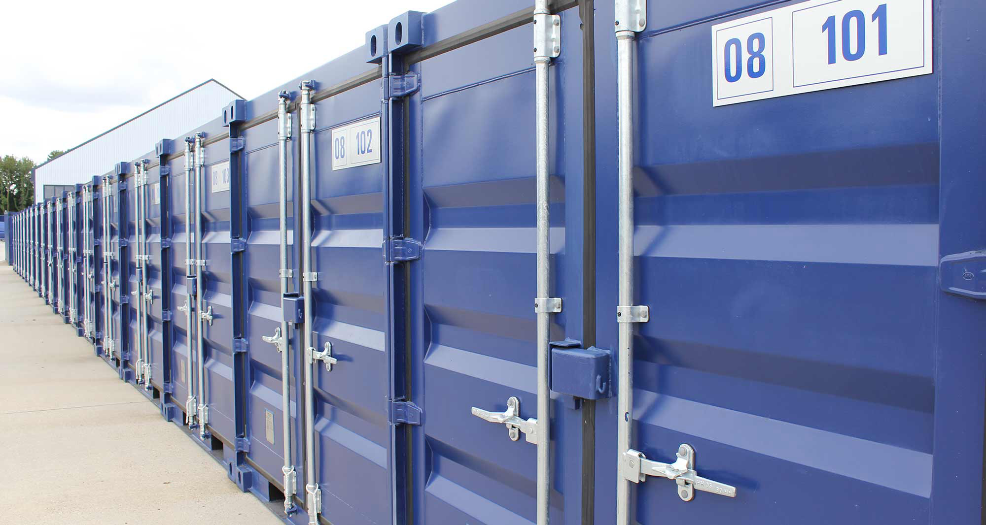 Camstore storage containers in a line